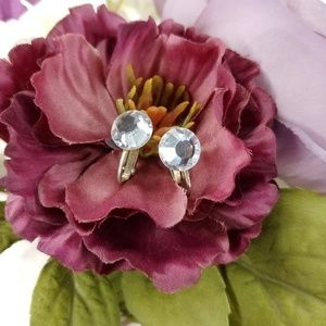 Vintage Crystal Stone Clip Earring